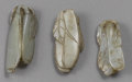 Asian:Chinese, CHINESE CARVED JADE/HARDSTONE TOGGLES. Set of three Chinese carvedjade/hardstone toggles of gourds. Each of pale green an... (Total:3 )