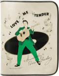 "Music Memorabilia:Memorabilia, Elvis Presley Vintage Binder. A very rare vintage 11"" x 14"" whitevinyl three-ring binder with zipper closure and Elvis ""Lov..."