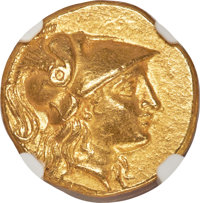 Ancients: MACEDONIAN KINGDOM. Alexander III the Great (336-323 BC). AV stater (19mm, 8.57 gm, 1h). NGC Choice AU 5/5 - 4...