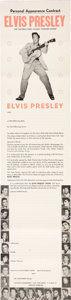 Music Memorabilia:Posters, Elvis Presley Mid-50's Personal Appearance Contract. ...
