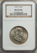 Franklin Half Dollars, 1957-D 50C MS66 Full Bell Lines NGC. NGC Census: (196/9). PCGS Population: (479/29). CDN: $150 Whsle. Bid for NGC/PCGS MS66...
