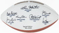 Football Collectibles:Balls, Notre Dame Heisman Trophy Winners Multi-Signed Football....