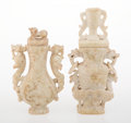 Carvings, Two Chinese Archaistic Carved Hardstone Covered Vases. 8-3/4 x 4-5/8 x 1-5/8 inches (22.2 x 11.7 x 4.1 cm). ... (Total: 3 Items)
