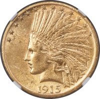 1915-S $10 MS61 NGC. With a mintage of only 59,000 pieces, the 1915-S Indian eagle is one of the key dates to the series...
