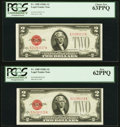 Fr. 1508 $2 1928G Legal Tender Notes. Two Consecutive Examples. PCGS Choice New 63PPQ; New 62PPQ. ... (Total: 2 notes)