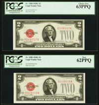 Fr. 1508 $2 1928G Legal Tender Notes. Two Consecutive Examples. PCGS Choice New 63PPQ; New 62PPQ