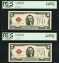Fr. 1508 $2 1928G Legal Tender Notes. Two Examples. PCGS Very Choice New 64PPQ. ... (Total: 2 notes)