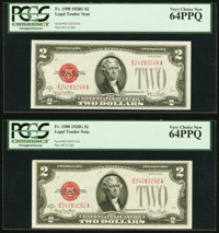 Fr. 1508 $2 1928G Legal Tender Notes. Two Examples. PCGS Very Choice New 64PPQ