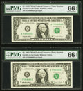 Fr. 1923-A $1 1995 Web Federal Reserve Notes. Two Consecutive Examples. PMG Gem Uncirculated 66 EPQ, block A-D, run 13...