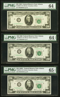 Fr. 2065-F $20 1963 Federal Reserve Note. PMG Choice Uncirculated 64; Fr. 2067-F* $20 1969 Federal Reserve Star Note. PM...