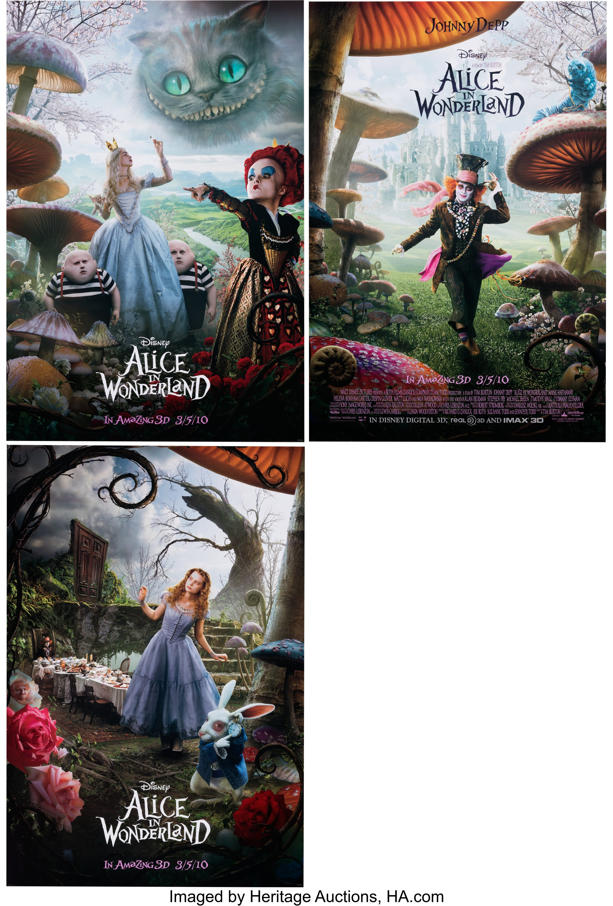 Alice In Wonderland Live Action Movie Poster One Sheets Group Of Lot 17883 Heritage Auctions