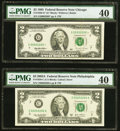 Small Size:Federal Reserve Notes, Fancy Serial Number 20002202 Fr. 1936-G* $2 1995 Federal Reserve Note. PMG Extremely Fine 40;. Fancy Serial Number 0020220... (Total: 2 notes)