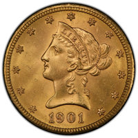 1901-S $10 MS65+ PCGS. PCGS Population: (1267/239 and 97/22+). NGC Census: (1322/230 and 18/7+). CDN: $2,450 Whsle. Bid...