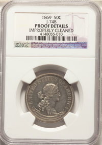 1869 50C Standard Silver Half Dollar, Judd-748, Pollock-831, R.5 -- Improperly Cleaned -- NGC Details. Proof....(PCGS# 6...