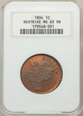 1804 1C Restrike MS63 Red and Brown NGC. NGC Census: (3/3). PCGS Population: (15/24)....(PCGS# 45344)
