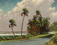 Harold Newton (American, 1934-1994) Florida Highwaymen Beach Scene Oil on board 21-1/2 x 27-3/4 inches (54.6 x 70.5 c