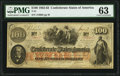 Confederate Notes:1862 Issues, T41 $100 1863 PF-59 Cr. 326A PMG Choice Uncirculated 63.. ...