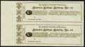 New Brunswick, NJ- Queen's College Lottery, No. III Third Class Ticket June, 1814 Remainders Uncut Pair Extremely Fine-A...