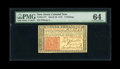 Colonial Notes:New Jersey, New Jersey March 25, 1776 3s PMG Choice Uncirculated 64....