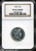Proof Barber Quarters: , 1904 PR 65 Cameo NGC. ...
