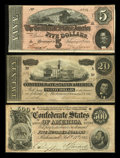 Confederate Notes:Group Lots, Three Confederate Notes Including a T64.. ... (Total: 3 notes)