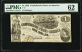 Confederate Notes:1862 Issues, T44 $1 1862 PF-3 Cr. 341 PMG Uncirculated 62.. ...