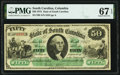 Columbia, SC- State of South Carolina $50 Mar. 2, 1872 PMG Superb Gem Unc 67 EPQ