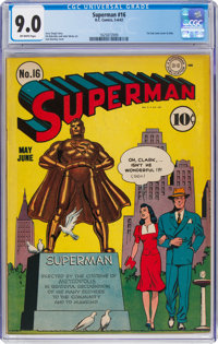 Superman #16 (DC, 1942) CGC VF/NM 9.0 Off-white pages