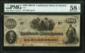 Confederate Notes:1862 Issues, T41 $100 1862 PMG Choice About Unc 58 EPQ.. ...