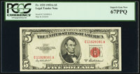 Fr. 1533 $5 1953A Legal Tender Note. C-A Block. PCGS Superb Gem New 67PPQ