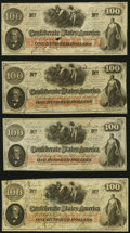 T41 $100 1862 Four Examples Very Fine or Better. ... (Total: 4 notes)