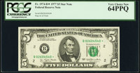 Fr. 1974-B* $5 1977 Federal Reserve Note. PCGS Very Choice New 64PPQ