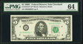 Fr. 1972-D* $5 1969C Federal Reserve Note. PMG Choice Uncirculated 64