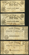 Raleigh, NC- State of North Carolina 25¢ (2); $2 (2) 1861-63 Fine or Better