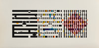 Yaacov Agam (b. 1928) Untitled, late 20th century Screenprint in colors on satin wove paper 18-5/8 x 37-1/4 inches (4