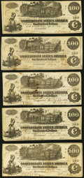 T39 $100 1862 Five Examples Very Fine or Better. ... (Total: 5 notes)