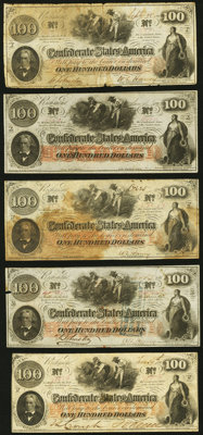 T41 $100 1862 Five Examples Fine or Better. ... (Total: 5 notes)