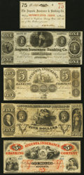 Augusta, GA- Augusta Insurance and Banking Company 75¢; $1; $5 (3) 1858-63 Fine-Very Fine or Better. ... (Total: 5...