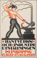 "Movie Posters:Foreign, Craft and Industrial Exhibition (1920) Very Fine on Chartex. Swedish Poster (23.5"" X 37"") Ruben Hellman Artwork. Foreign. . ..."