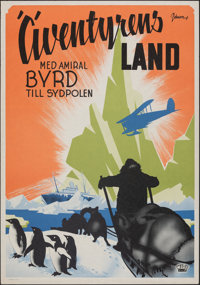 """With Byrd at the South Pole (Wive, R-1930s). Rolled, Very Fine-. Swedish One Sheet (27.5"""" X 39.5"""") Eric Rohman..."""