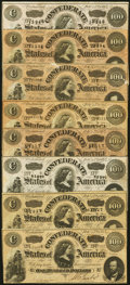 Confederate Notes:1864 Issues, T65 $100 1864 Eight Examples Fine or Better.. ... (Total: 8 notes)