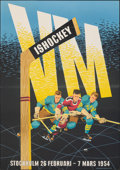 "Movie Posters:Sports, Ice Hockey 1954 World Championship (1954). Fine/Very Fine on Chartex. Swedish One Sheet (27.25"" X 38.5"") Karlsson Artwork. S..."