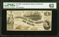 Confederate Notes:1862 Issues, T44 $1 1862 PF-1 Cr. 339 PMG Uncirculated 62.. ...