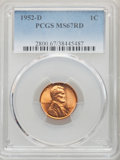 Lincoln Cents: , 1952-D 1C MS67 Red PCGS. PCGS Population: (132/0). NGC Census: (218/0). CDN: $175 Whsle. Bid for NGC/PCGS MS67. Mintage 46,...