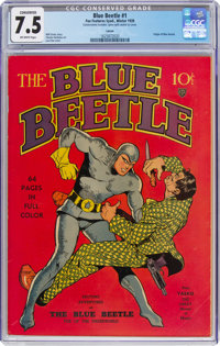 Blue Beetle #1 Larson pedigree (Fox Features Syndicate, 1939) CGC Conserved VF- 7.5 Off-white pages