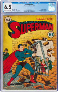 Superman #5 (DC, 1940) CGC FN+ 6.5 Off-white to white pages