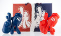 Collectible, OG Slick . LA Hands: True Blue and Red Handed (set of 2), 2018. Painted cast vinyl with bag. 11-1/2 x 8-1/2 x 5 inch... (Total: 2 Items)