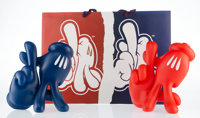 OG Slick LA Hands: True Blue and Red Handed (set of 2), 2018 Painted cast vinyl with bag