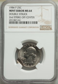 Errors, 1984-P 25C Washington Quarter Dollar -- Doubled Struck, Second Strike Off Center -- MS64 NGC....
