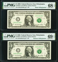 Radar 65122156 Fr. 1933-C $1 2006 Federal Reserve Note. PMG Superb Gem Unc 68 EPQ; Repeater 65126512 Fr. 1933-C $1 2006...